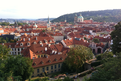 View of red rooftops on left bank of Prague